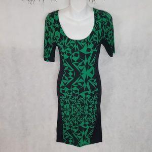 NWT BODY CENTRAL green black bodycon midi dress M